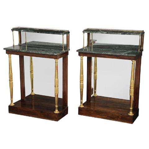 pair of Regency marble-top consoles