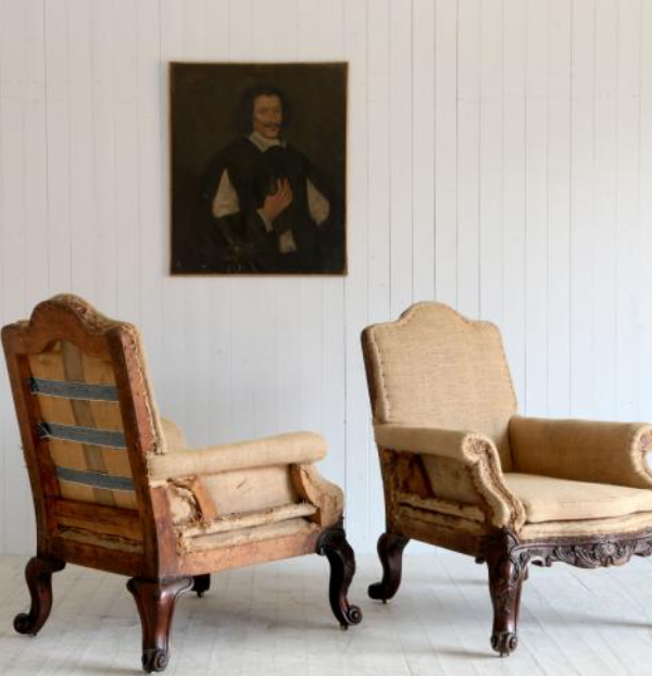 La Place Antiques - a pair of French armchairs with period portrait of a gentleman