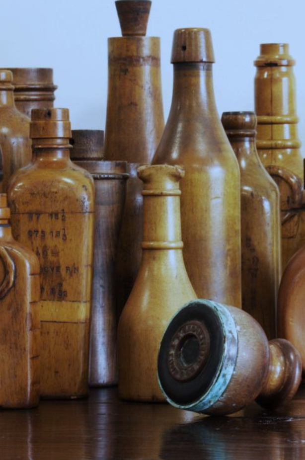 Molly & Maud's Place - a group of wooden glass bottle moulds 'John Lumb & Co'