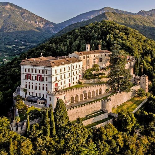 Castle Brando overlooking the village of Cison di Valmarino in Northern Italy